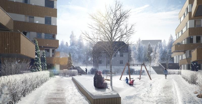 Vinterillustrasjon uteområder Parkveien.