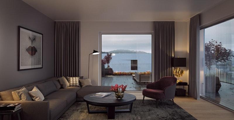 Illustrasjon. Store vindusflater er en gjenganger i leilighetene i Storebukta.