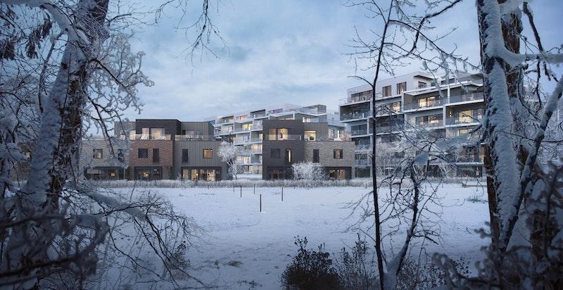 Vinterstemning. Hus B ses til høyre. Illustrasjon.
