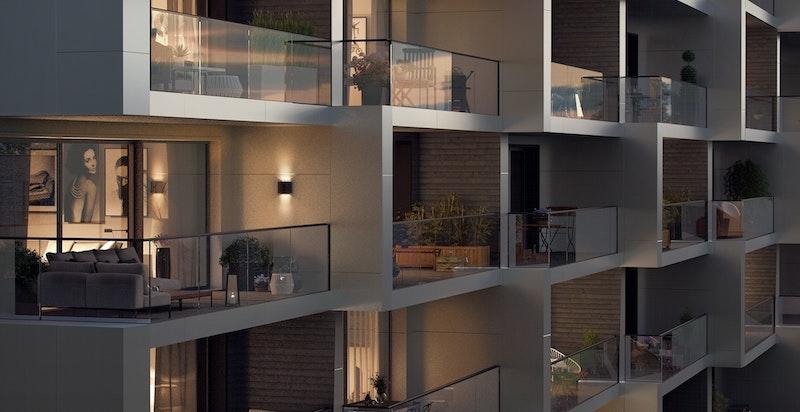 Moderne og meger flott arkitektur (Hus A). Illustrasjon.