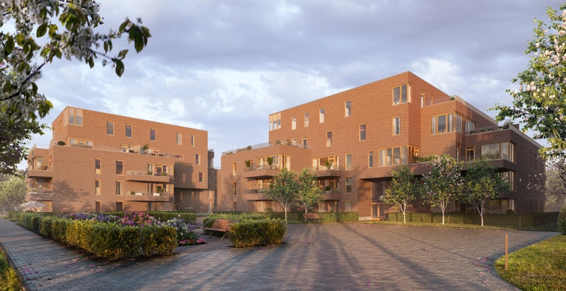 Hus E til høyre og Hus F til venstre. Hus E består av 31 nye boliger.