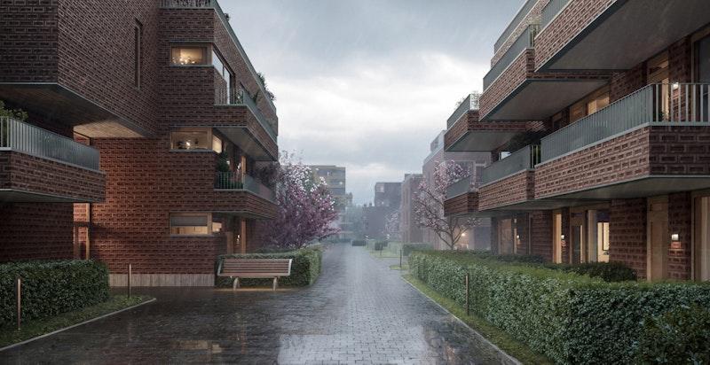 Urban Villas Hus A til venstre og Hus B til høyre. Lengst bak ses Ski Tårn av Code. Se flere illustrasjoner og boligvelger på www.urbanvillas.no