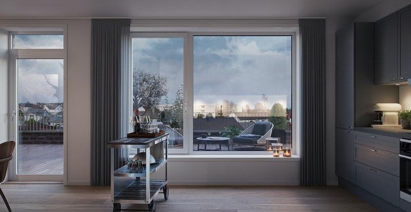 Eksempel leilighet med privat takterrasse, illustrasjon fra annet bygg i prosjektet (Ikke Hus E).