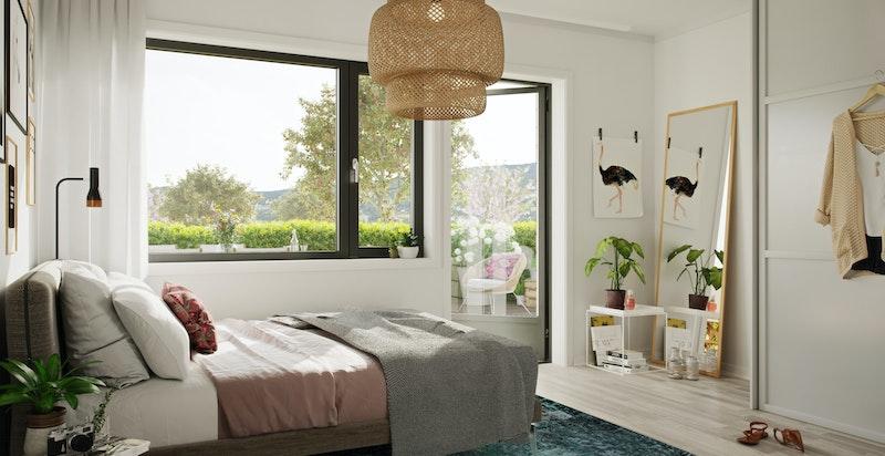 Master bedroom med store vindusflater og garderobesone. Illustrasjon.