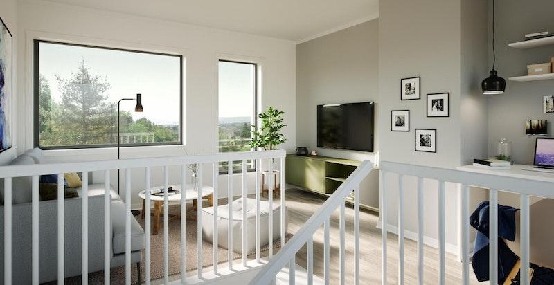 Stue 3. etasje. Takterrasse utenfor (bak vegg/kamera). Standard på noen boliger, mulig å kjøpe ekstra på de øvrige boligene.