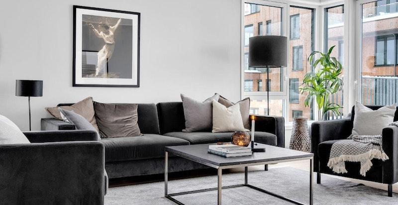 Stue. Bilde fra Urban Villas leilighet F502 som er ledig og innflyttingsklar.