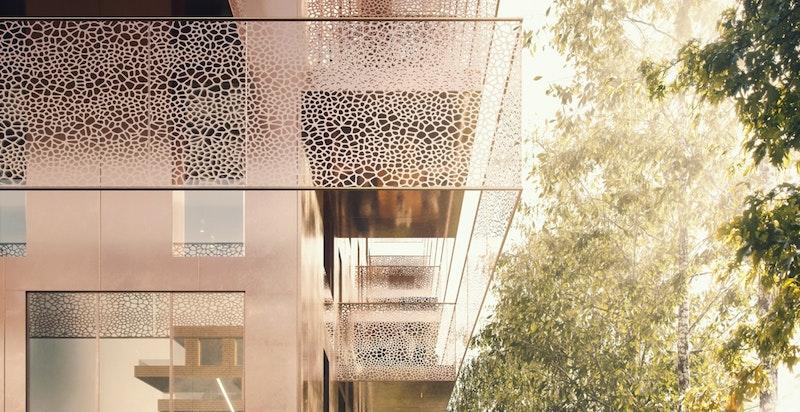 Illustrasjon. I 1. etasje og 2. etasje blir det boliger over to plan med flotte utearealer. Kall det gjerne townhouse. I plan 3-8 er boligene på ett plan.