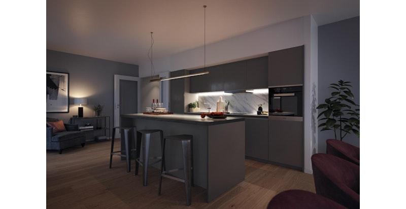 Illustrasjon interiør. Mobalpa (fransk) kjøkken.