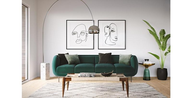 Illustrasjon interiør. Lyse og lekre selveierboliger sentralt på Kolbotn.
