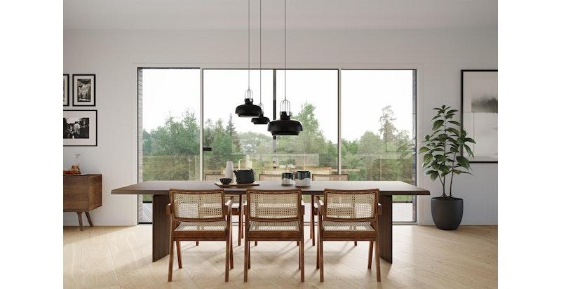 Illustrasjon interiør. Store vindusflater mot vest/sydvest.