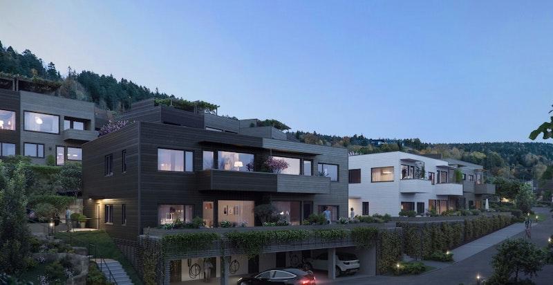 Kveldsstemning i Solåsen. Det er leilighetsbyggene vi ser illustrert her.