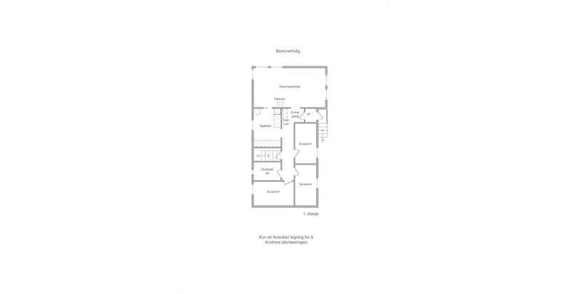 Bestyrerbolig - plantegning 1. etasje