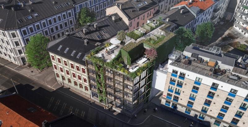 På toppen av bygget blir det felles takterrasse samt mulighet for å kjøpe privat hageparsell. Kun ment som illustrasjon