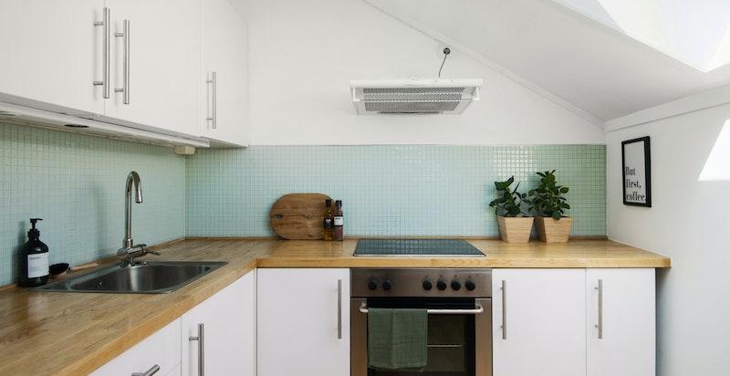 Integrerte hvitevarer som kjøleskap / fryser, oppvaskmaskin, stekeovn og platetopp.