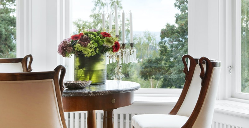 Stue. Karnapp slipper inn utsikt og naturlig lys.
