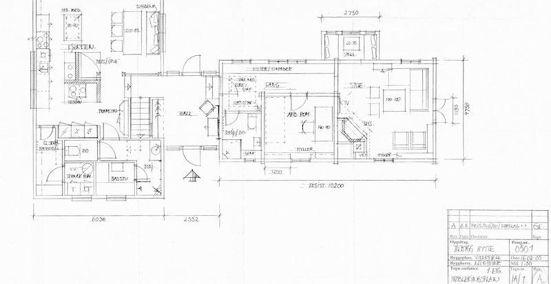 Planskisse hovedhytta 1. etasje