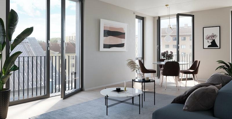 Illustrasjon stue fra sydvestvendt leilighet i Hus A.