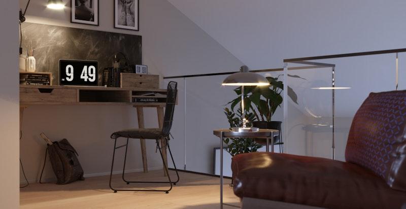 Illustrasjon fra stue/kontor 3. etasje i bolig over to plan Hus B.
