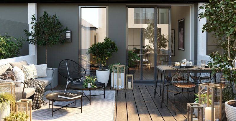 Illustrasjon dag. Terrasse (ca. 20 kvm) til bolig i Hus B.