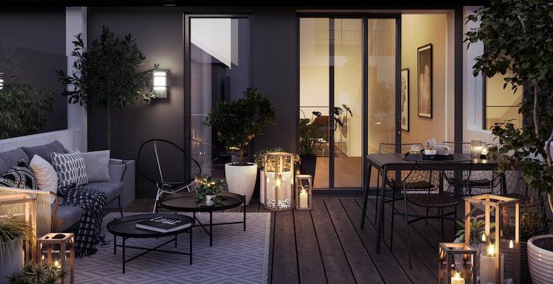 Illustrasjon kveld. Terrasse (ca. 20 kvm) til bolig i Hus B.