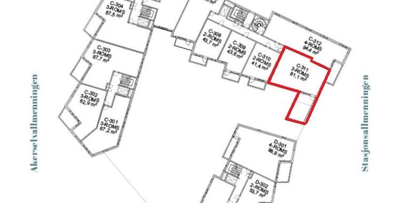 Oversikt 3. etasje - intern beliggenhet er markert i rødt.