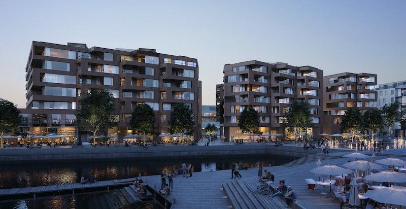 Illustrasjon av fasade Munch Brygge (østsiden)