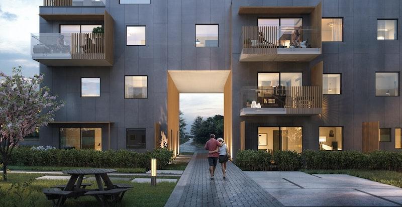 Hus A i Bjertnes Portal inneholder 21 stk 2-, 3- og 4-roms selveierleiligheter. Samtlige leiligheter i huset får privat terrasse, balkong eller takterrasse