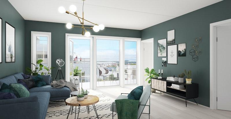 Innvendig vil leiligheten fremstå som lys og luftig med store vindusflater fra forskjellige himmelretninger, i tillegg til balansert ventilasjon som gir et sunt inneklima (illustrasjon av stue til annen leilighet)