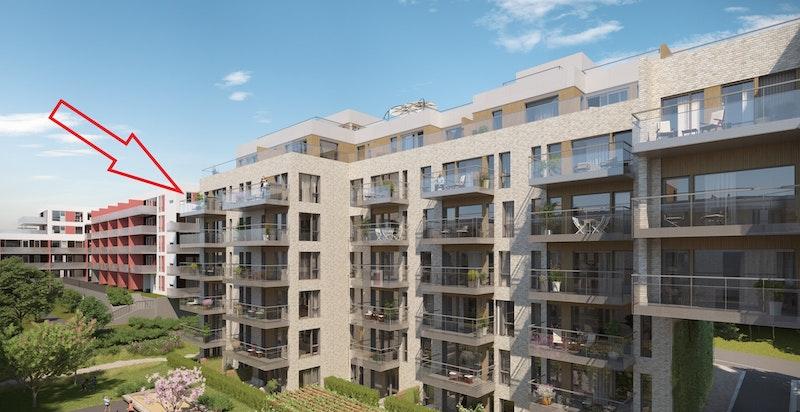 Ny 4-roms andelsleilighet under oppføring i 5. etasje med solrik balkong, utsikt, 2 dusjbad, felles takterrasse og god standard. Mulighet for utleie inntil 3 år - Salg av kontraktsposisjon. Ventes ferdigstilt Q3 2019.