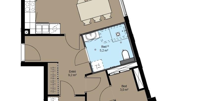 Planskisse A3-23. Innholdsrik og effektiv 3-roms med endeplassering.