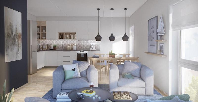 Luftig og åpen stue/kjøkkenløsning med store vindusflater. Illustrasjon fra en annen boligtype i prosjektet.