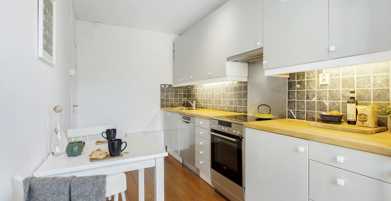Det er også en hyggelig spiseplass på kjøkkenet.