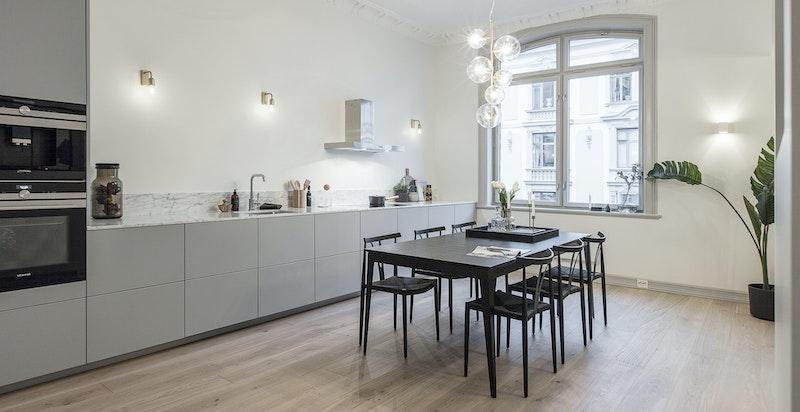 Nydelig kjøkken med kvalitetshvitevarer fra Siemens.
