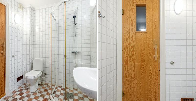 Huset har 2 baderom. Her er baderommet i underetasjen vist. Du har i tillegg badstue på innsiden.