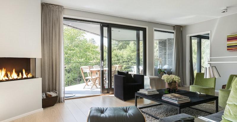 Stue med gasspeis og utgang terrasse og hage