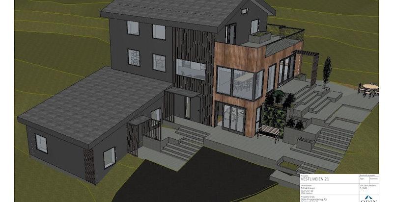 Det foreligger arkitekttegninger med forslag til nytt tilbygg