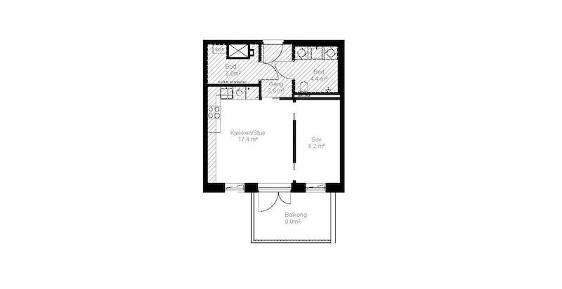 Plantegning av leilighet C502.