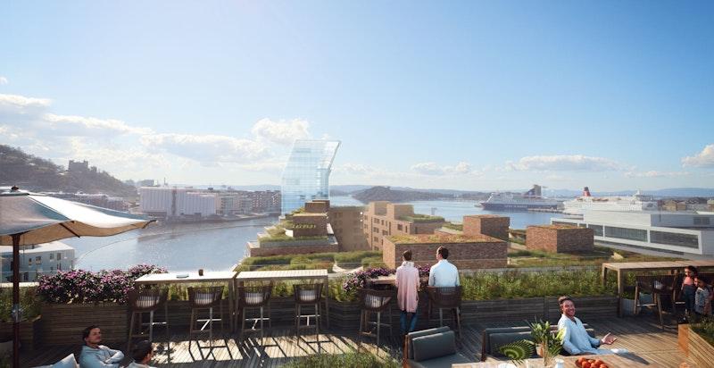 Prosjektet får felles takterrasse med vidstrakt utsikt (kun ment som illustrasjon)