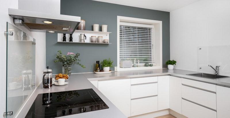 Stort og innholdsrikt kjøkken med god skap- og benkeplass