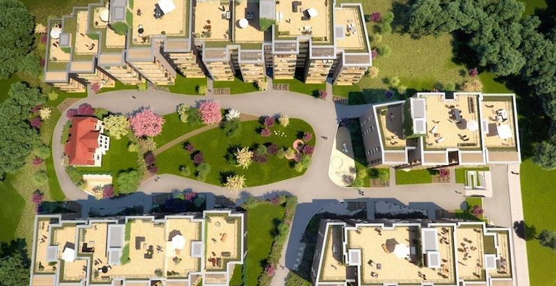 Sameiet har 5 felles takterrasser som beboerne disponerer.