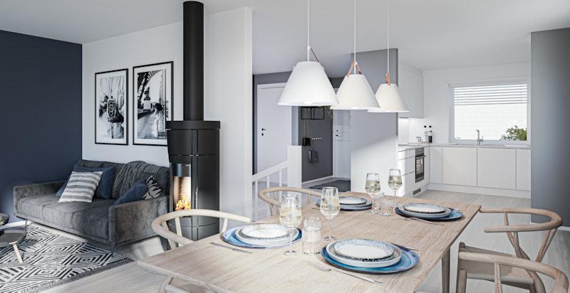 Stue i åpen løsning med spisestue og kjøkken - Kun illustrasjon