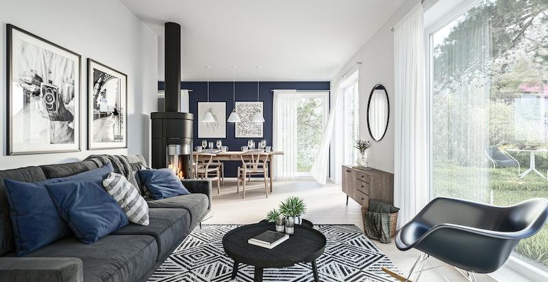 Stue med store vindusflater - Kun illustrasjon