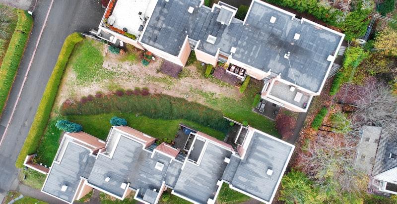 """Dronefoto. Fine fellesarealer med """"grønn lunge"""" mellom bygningskroppene."""