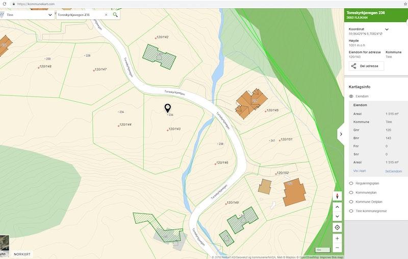 Toreskyrkjavegen 236, tomt 51 i H28, på kommunekart.com zoomet inn