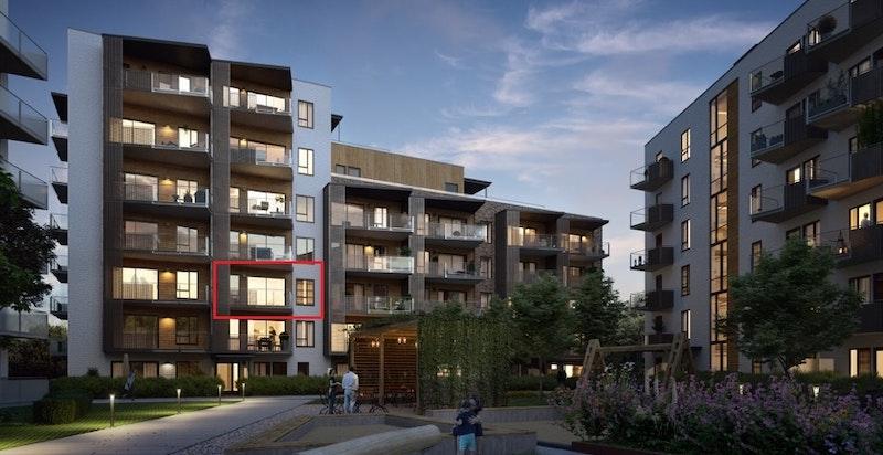 Velkommen til Saga Terrasse 1406! Ny 3-roms i. 4. etasje med god intern beliggenhet, vestvendt balkong, garasjeplass og god standard. (kun ment som illustrasjon)