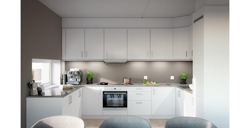 Det leveres hvit kjøkken med integrerte hvitevarer. (Illustrasjon av kjøkken til annen leilighet. Se plantegning for kjøkkenløsning)