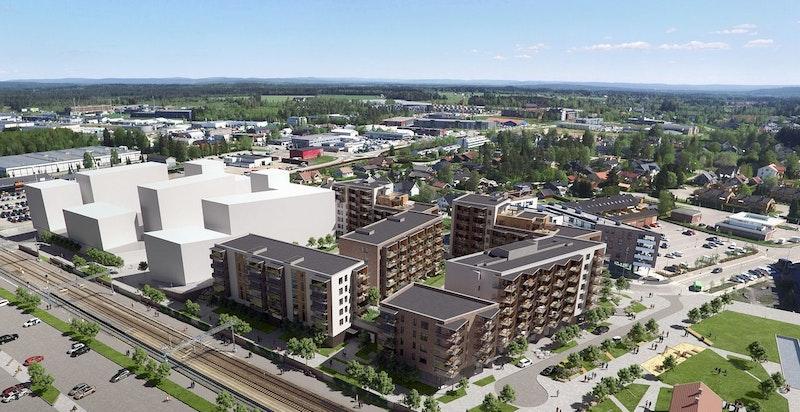 Leiligheten får en sentral beliggenhet rett ved Jessheim sentrum, Jessheim stasjon og flotte rekreasjonsområder. (Kun ment som illustrasjon av bebyggelse)