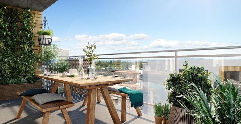 Balkongen er på 10 kvm med utsyn mot fellesareal. (Kun ment som illustrasjon av balkong til annen leilighet)