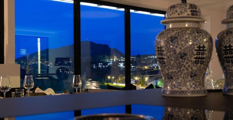 Utsikt fra stue kveldstid