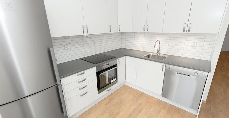 Moderne kjøkken fra Norema med medfølgende hvitevarer. Bilde tatt fra en tilsvarende leilighet i prosjektet.